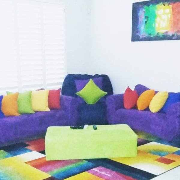 Custom made suede tufted purple couch, love seat and lime green ottoman