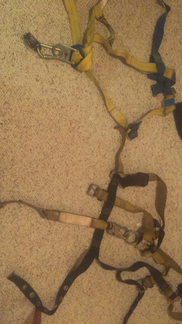 yellow and blue body harness
