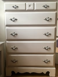 white real antiques French wooden 5-drawer tallboy dresser, with an amazing finishing of handles