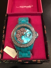 Ed Hardy turquoise crystal hibiscus watch San Jose, 95124