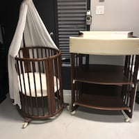 Crib and table with extended bed