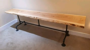 Live Edge Bench with Pipe Legs.