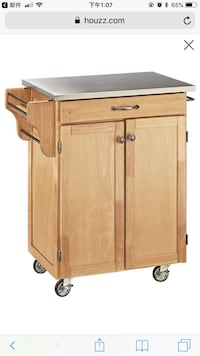 Draper Cuisine Cart, Natural, With Stainless Top 帕姆代尔, 93550