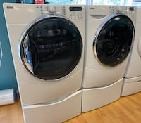Kenmore Front Load Washer and Electric Dryer Set with Pedestals