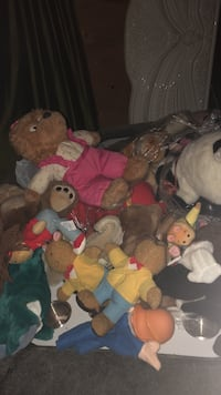 Bunch of teddy bears and puppets