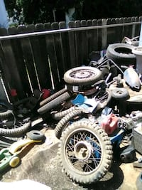 Bunch of different motorcycle parts and stuff