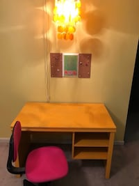 Girls desk, chair, and hanging lamp