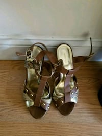 pair of brown leather open-toe heeled sandals Boston, 02124