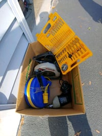 """BOX of ASSORTED TOOLS,lot""""retractable cord/ELECTRIC 3/8""""drill new DRIL Spring Grove, 17362"""