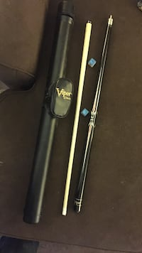 Disassembled white and black cue stick with case Harrison, 15065
