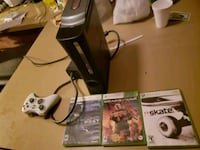 black Xbox 360 console with controller and game ca Orange, 92867