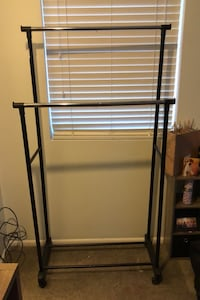 Double Clothes Rack with Wheels