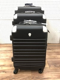 """3 PCs LUGGAGE TRAVEL ABS SUITCASE WITH ATTACHED LOCK ( 20"""" + 24"""" + 28"""" INCH ) BLACK LIGHT WEIGHT"""