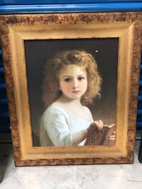 Vintage Little girl oil painting