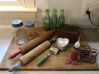 Lot of Country Decor Rolling pins, canning jars, coca cola bottles