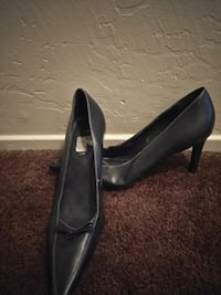 pair of black leather platform stilettos San Francisco