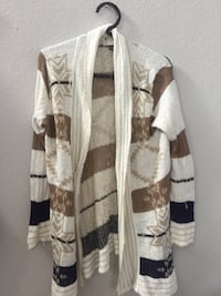 knitted white, black, and brown striped cardigan