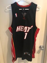 Miami Heat Chris Bosh #1 black away authentic jersey. Everything is stitched. (Size L) Carlsbad, 92008