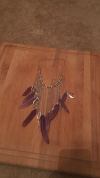 silver-colored link chain purple feather bib necklace Charleston, 29407