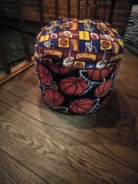black yellow and red cleveland themed ottoman Warren, 44483