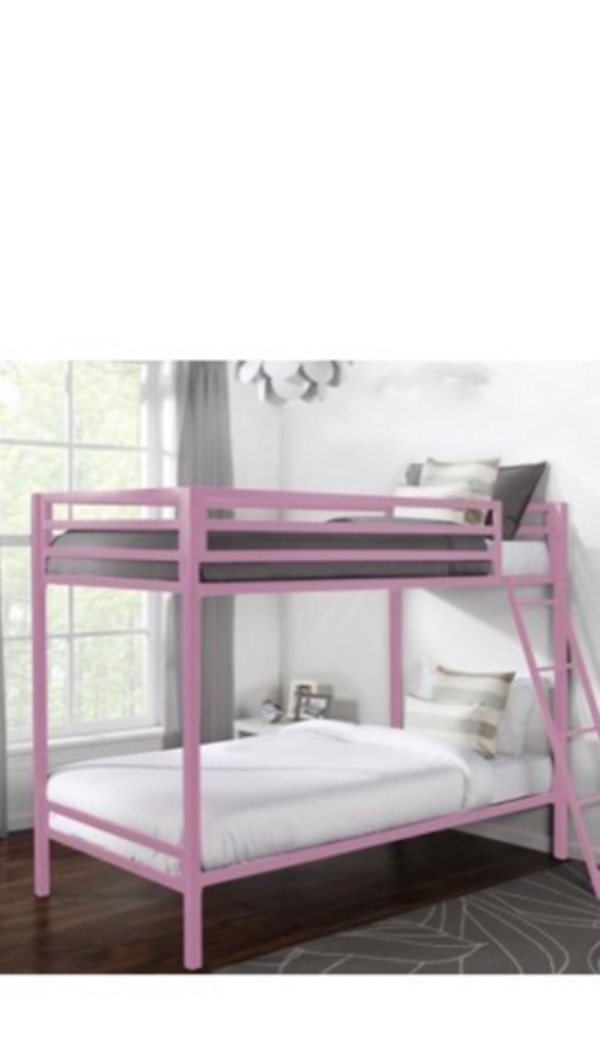 white and pink bunk bed