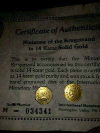 Certificate of Authentic Miniature if the Krugerra Bowling Green, 42101