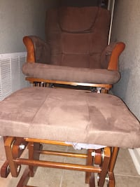 Brown wooden framed brown fabric padded glider chair Corpus Christi, 78413