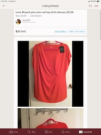 Lane Bryant NWT red shirt size. 22/24 Bright Red sift flattering Saint Augustine, 32086