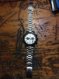 round silver-colored chronograph watch with link bracelet London, N6B 2T8