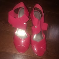 Red wrap heels size 7 and a half  Mississauga, L5M 3K4