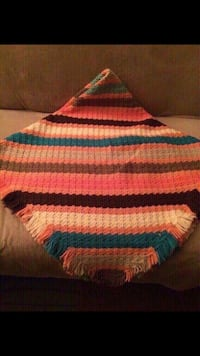Beautiful sripped super soft and heavy hand crocheted throw afghan new