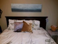 Dark wood Queen bed frame with cushion headboard Calgary, T3E 1V9