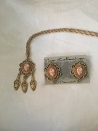 Cameo flower necklace & earrings Gaithersburg
