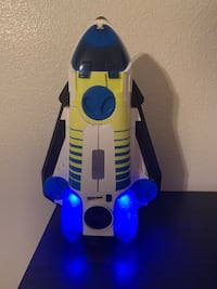 White and blue plastic toy