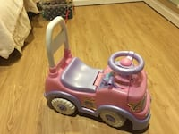 pink and purple car ride-on toy