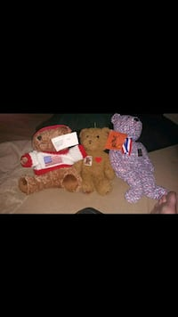 Collection of 3 -1 Royal Plush, 1 Centennial Stamp Teddy, & 1 TY USA Oklahoma City, 73159