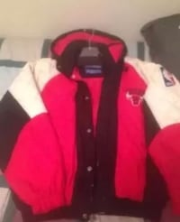 Red and white zip-up jacket