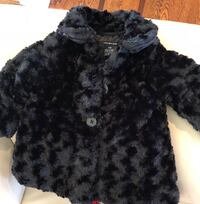 toddler's black and gray fur coat. Calvin Klein 12 months wore 1 hour. Perfect condition