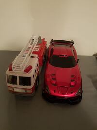 red car and firetruck diecast model