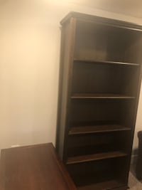 Dark wood bookcase with five sections  ARLINGTON
