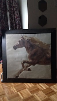 Running horse painting with black frame Laval, H7G 6G5