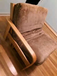 Small wooden futon w/ soft mattress- Delivery available