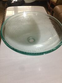 Greek key glass vessel sink Falls Church, 22041