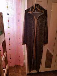 women's brown and black long sleeve dress