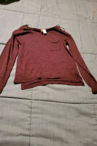 Maroon long sleeve see through top