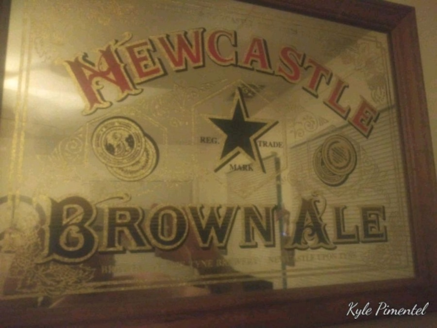 Photo Newcastle Brown Ale promotional mirror.. Great shape, no peeling