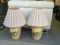 two white-and-green floral ceramic table lamps Montréal, H9E 0A3