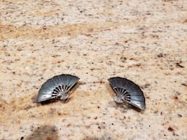 Vintage Siam Sterling Fan Clip-on Earrings