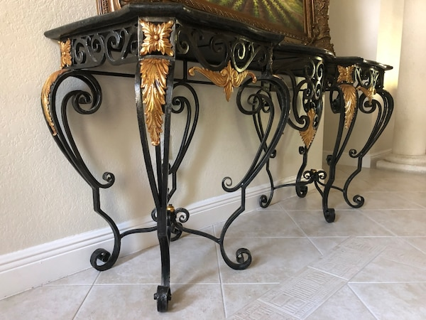 Wrought Iron and Marble Table 68b1140b-6d40-47fe-b58f-eb44d7350358