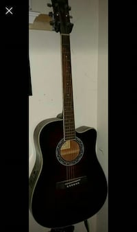 Maroon Ibanez electric acoustic guitar